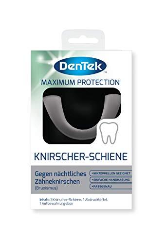 DenTek Knirscher-Schiene gegen nächtlichen Bruxismus - Zahnschutz bei Zähneknirschen - Aufbissschiene für den Oberkiefer - Zahnschiene BPA & Latex frei - mit Aufbewahrungsbox