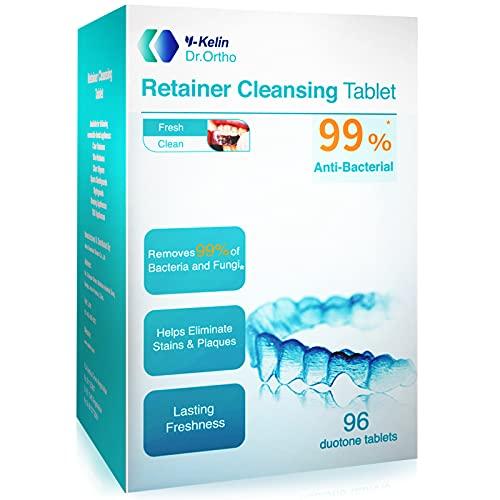 Y-Kelin Zahnspangen-Reinigungstabletten, Zahnprothesen-Reinigungstabletten, 3 Monate Vorrat, Zahnspange, Mundschutz-Reiniger, Invisalign-Reiniger, Brite-Reinigungstabletten.