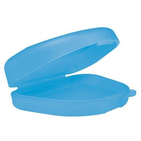 wellsamed Zahnspangendose Spangendose Dento Box, flache Dose (auch für Aufbissschiene, Knirscherschiene) 1 Stück, transparent-blau