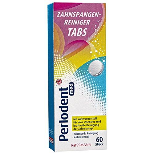 Perlodent med Zahnspangenreiniger Tabs 60 Stück mit Aktivsauerstoff für eine intensive & kraftvolle Reinigung der Zahnspange, schonende Reinigung, antibakteriell