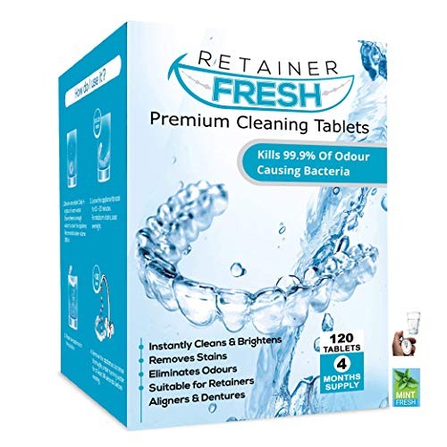Retainer Cleaning Tablets - 120 Tablets 4 Month Supply Retainer Fresh, British and Stain Free - Retainer Cleaner Tablet, Invisalign, Mouth Guard, Dentures, Dentures